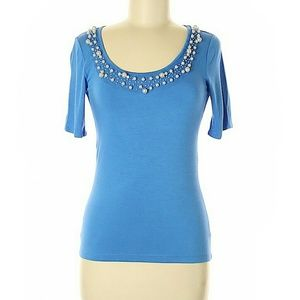 Ellen Tracy Blue Pearl Beading Embellished Blouse